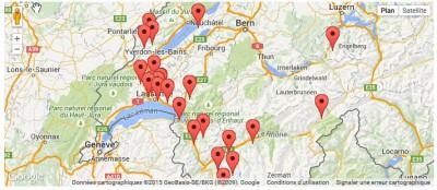 Activités 2015 sur Google map